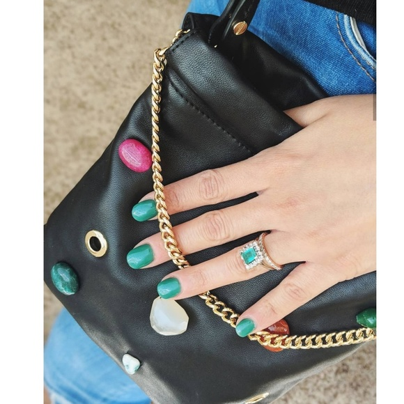 & Other Stories Handbags - & Other Stories Black Leather Gem Stones Crossbody